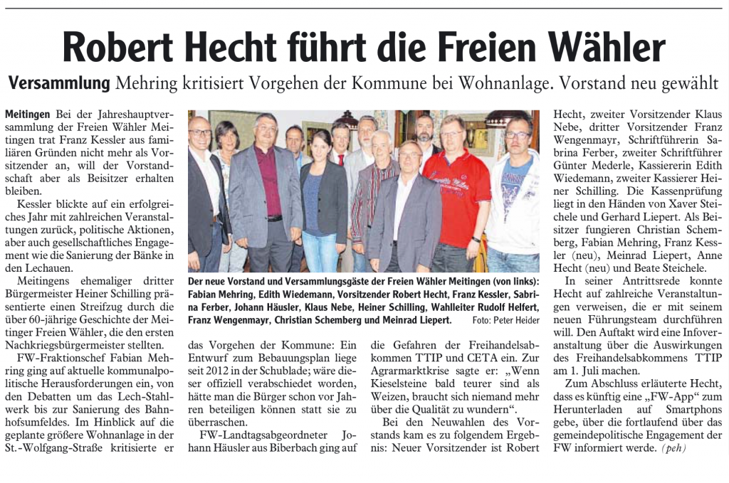 Freie Wähler in Meitingen unter neuer Führung